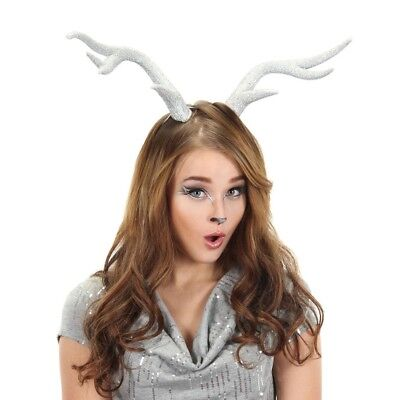 Silver Glitter Deer Doe Antlers Mythical Animal Fairy Costume - Costume Antlers