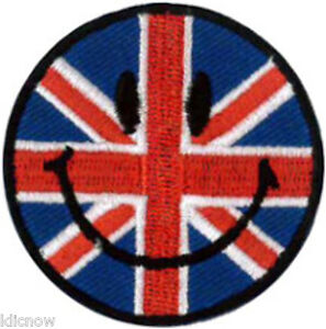 Smiley-Face-Union-Jack-Embroidered-Patch-5CM-Dia-approx-2-Dia-Sew-On-Iron-On