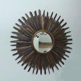 Round reclaimed wood Sunburst mirror