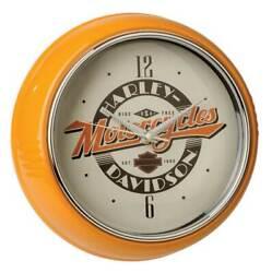 Harley-Davidson Ride Free Retro Metal Diner Clock - Orange Housing HDL-16643