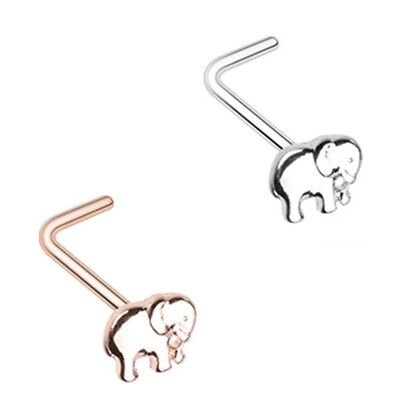LUCKY ELEPHANT 20G NOSE RING STUD (L-SHAPE) STEEL BODY PIERCING JEWELRY