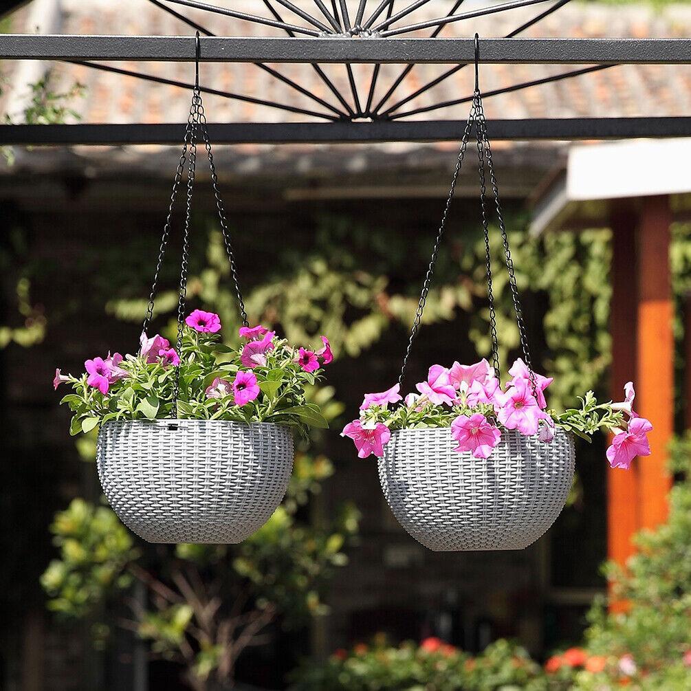 Blumenampel Hängeampel Beige Makramee Pflanzen Garten Zimmer Blumentöpfe Seil
