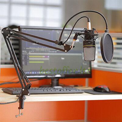 Broadcast Studio Mic Microphone Boom Scissor Arm Stand Desk Table Mount DJ Radio