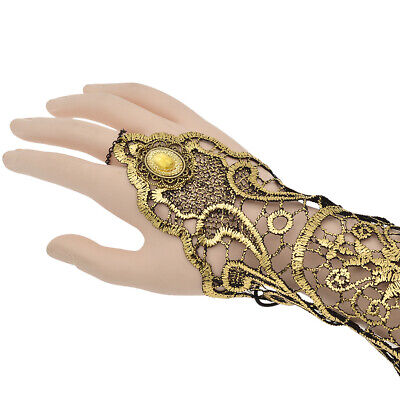 Womens Elegant Long Lace Bride Gloves Fingerless Gothic Wedding Bridal Dress USA