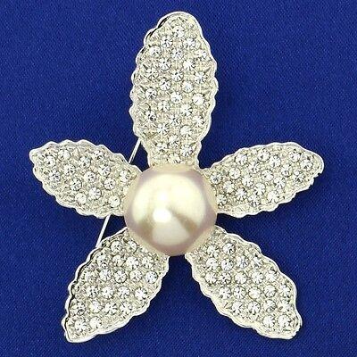 Flower Pearl W Swarovski Crystal Clear Star New Brooch Pin Wedding Jewelry Gift