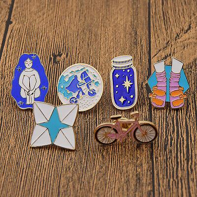 (6Pcs Chic Enamel Brooch Pin Bike Cycling Wishing Bottle Shoes Collar Lapel Pins)