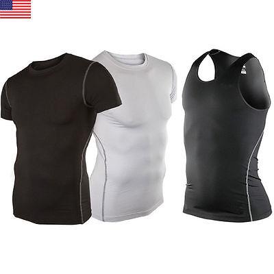 Men Gym Running Sport Body Compression Wear Base Layer Tank Top Vest Under (Mens Running Shirt)