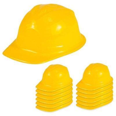 Kids Yellow Construction Plastic Hard Cap Hat Pretend Play  Preschool Games LOT - Play Construction Hats