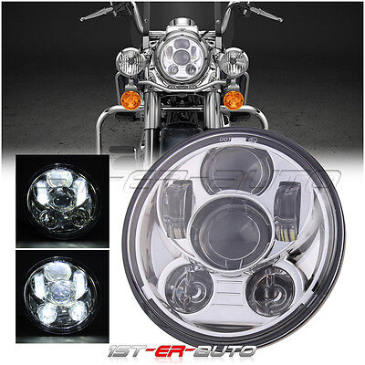 1X Chrome 5.6'' 5.75'' H4 Daymaker Motorcycle LED Projector Headlight for Harley