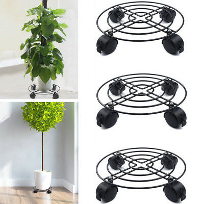 3 Pack Strong Metal Plant Caddy Potted Plant Stand W/ Wheels Round Home Outdoor