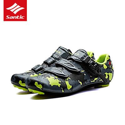 Santic Men Road Bike Cycling Camouflage Shoes Self-lock Black Green Riding Shoes Black Road Bike Shoes