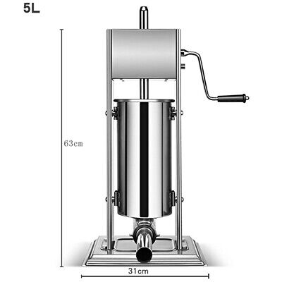 5l Vertical Commercial Sausage Stuffer 11lb Stainless Steel Meat Press Filler