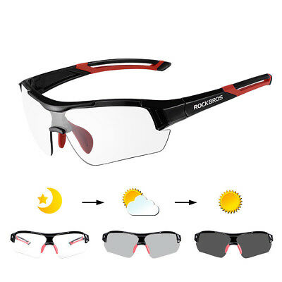 436919b0ce RockBros Cycling PC Photochromatic Black Red Glasses 100% UV400 Bike Goggles