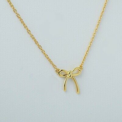 14k Yellow Gold Over 925 Sterling Silver Bow Ribbon Pendant Chain Necklace