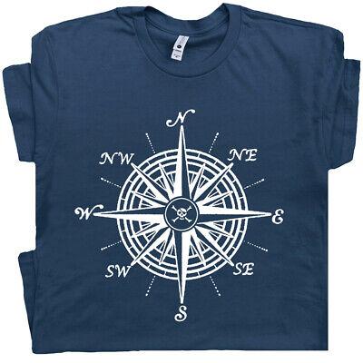 Womens Pirate T Shirt (Nautical Compass T Shirt Vintage Sailing Sailboat Pirate Jolly Roger Men)