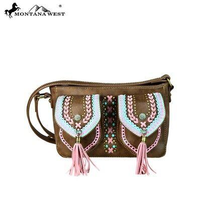 (Montana West Braided Trim Concho Tassels Turquoise Gold Stones Crossbody Handbag)