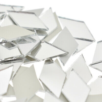 как выглядит 100 PCS Glass Mirror Mosaic Tiles Bulk Diamond Shape Decal Home Decor Crafts DIY фото