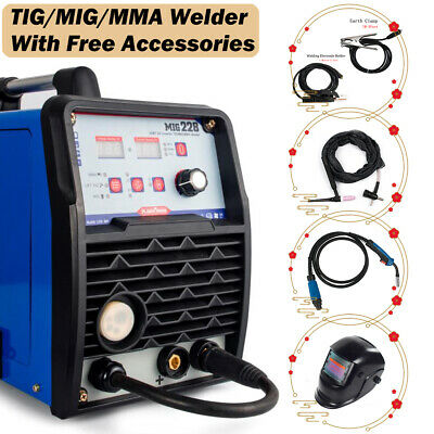 Mig Mag Welder Tig Argon Gas Mma Arc Stick Welding Machine W Helmet 200a Gasless