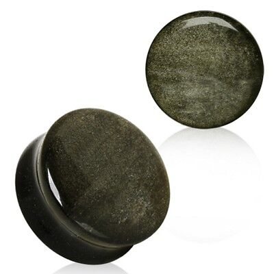 PAIR - GOLDEN OBSIDIAN STONE EAR PLUGS CONVEX DOUBLE FLARED GAUGES (5mm-25mm)