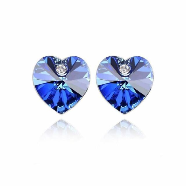 Austrian Crystal Stone Elements Dark Blue Heart Shaped Stud Earrings Uk Er