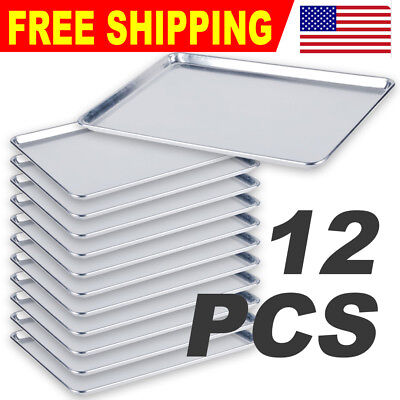 12 Pack Full Size 18 X 26 Aluminum Sheet Baking Pan Commercial