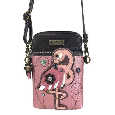 New Chala Pink Rose Flamingo Bird Cell Phone Crossbody Purse Adjustable Strap