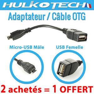 cable adaptateur micro usb male vers usb femelle otg host pr tablettes archos. Black Bedroom Furniture Sets. Home Design Ideas