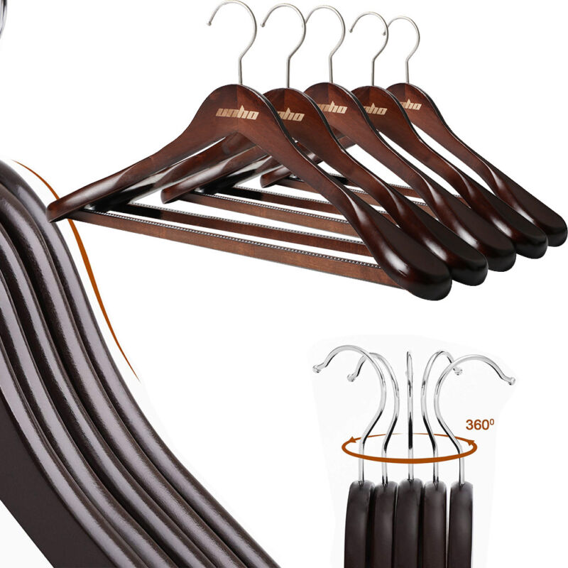 Solid Wood Suit Hangers 5-20 Pack Non Slip Bar Super Sturdy and Durable Wooden