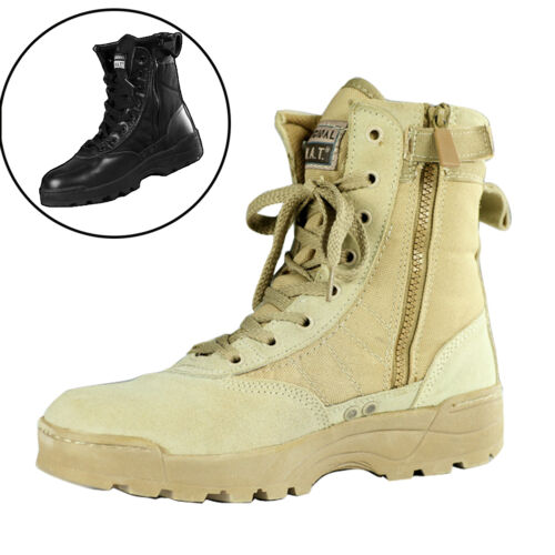 da058aa6392 Details about Comfort Men Military Leather Martin Ankle Combat Boot Army  Desert Outdoor Shoes