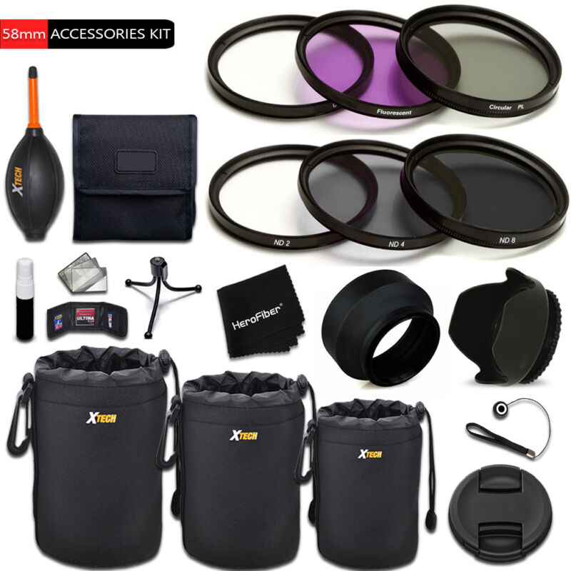PRO 58mm Accessories KIT w/ Filters + MORE f/ Canon EOS M