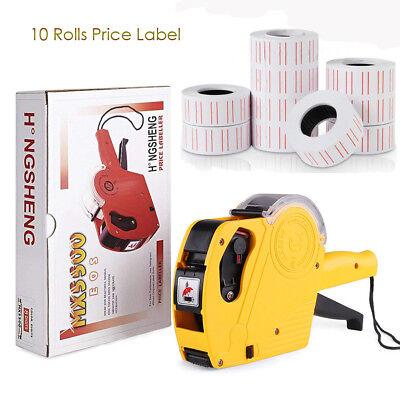 8 Digits Handy Regular Tagger Machine Price Tag Gun 10 Rolls Price Label Stores