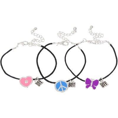 NEW Set of 3 Cute Best Friend Butterfly Heart Peace Sign Bracelets Colorful