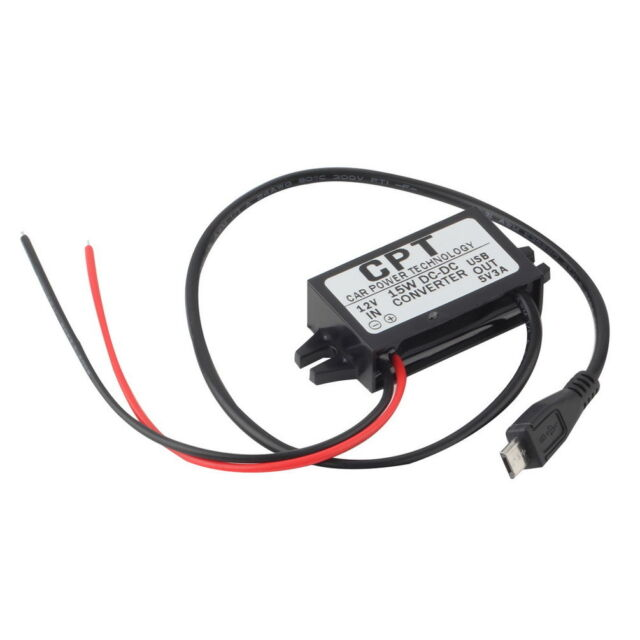 Car Charger DC Converter Module 12V To 5V 3A 15W with Micro USB Cable New ZY