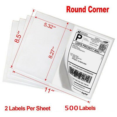 500 8.5x5.5 Round Corner Half Sheet Shipping Labels Self Adhesive Blank Labels