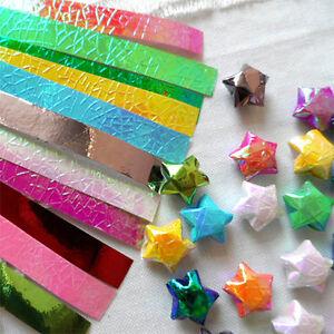 Lucky Star Folding Paper Origami 90 Shiny Strip Ribbons Craft DIY Handmade Gift