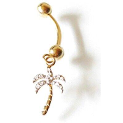 "Diamond Palm Tree Charm (14K Solid Yellow Gold Diamond Palm Tree Charm Belly Ring. L: 1 3/8"" BJ224-70 )"