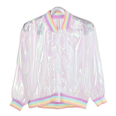 Rainbow Collar Laser Symphony Jacket Iridescent Transparent Coat Cool Unique 1Pc