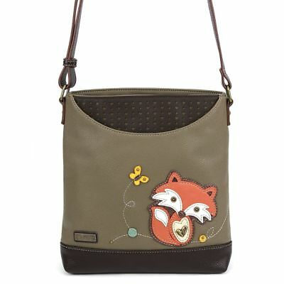 Green Zippered Faux Leather Purse - NEW CHALA OLIVE GREEN FOX SWEET MESSENGER CROSSBODY TOTE PURSE FAUX LEATHER