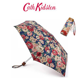 Cath Kidston Worth Bunch Navy Tiny Folding Umbrella & Cover Handbag Size 6F3227