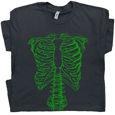 Green Skeleton T Shirt Vintage Spinal Tap Spine Ribs Movie Tee 70s 80s Halloween](Vintage Halloween T Shirts)
