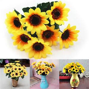 Sale-7Heads-Fake-Sunflower-Artificial-Silk-Flower-Bouquet-Home-Floral-Decor