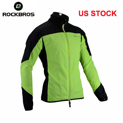 ROCKBROS Riding Jersey Cycling Jacket Windproof Reflective Coat Green US STOCK Cloth Riding Jacket