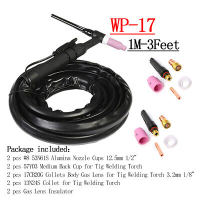 Wp17 150a Tig Welding Torch 1m Complete Flexible Head Air Cooled W Consumables