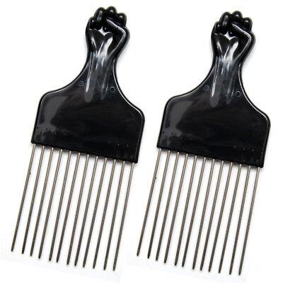 "Luxxii (2 Pack) 6.75"" Black Fist Metal Afro Pick Lift Hair Comb Detangle"