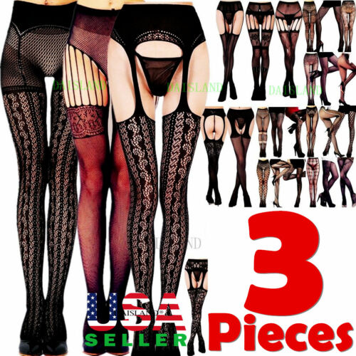 3 Women Stockings Socks Tights Pantyhose Hose Suspender Hosiery Fishnet Lingerie