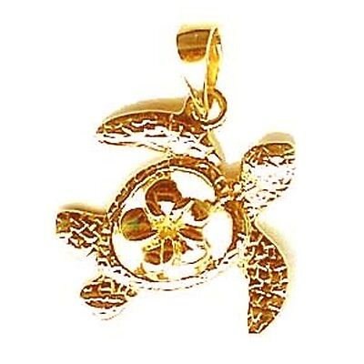 14K Solid Gold Sea Turtle Pendant Jewelry New 1943-5