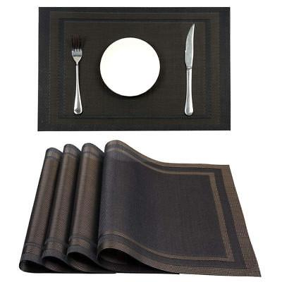 hebe Placemats Set of 8 Washable Placemat for Dining Table Indoor Outdoor Heat ()