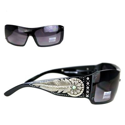 Montana West Ladies Sunglasses Turquoise Stone Daisy Concho Silver Feather (West Sunglasses)