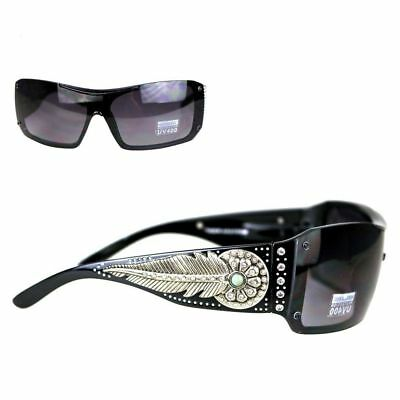 Montana West Ladies Sunglasses Turquoise Stone Daisy Concho Silver Feather (Concho Sunglasses)