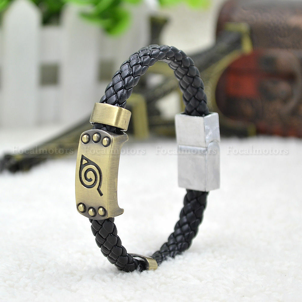 Fashion Anime Naruto Konoha Logo Bracelet Weave Band Wristband Cosplay